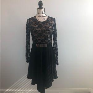 Venus black/tan lace long sleeve cocktail dress